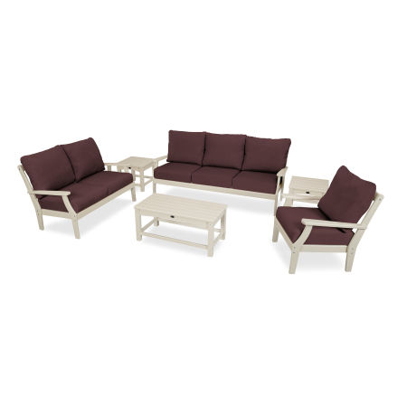 Yacht Club 6-Piece Deep Seating Set in Sand Castle / Cast Currant