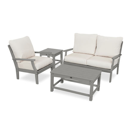 Yacht Club 4-Piece Deep Seating Set in Stepping Stone / Bird's Eye