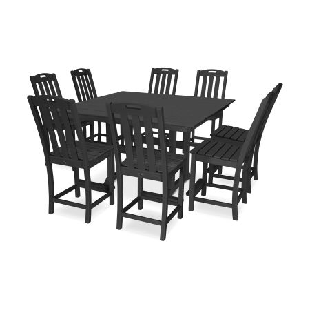 Yacht Club 9-Piece Farmhouse Side Chair Counter Set in Charcoal Black